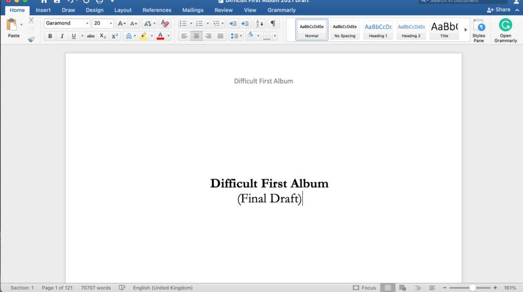 Difficult First Album Word Doc